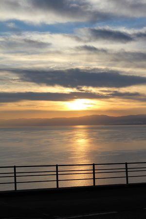 sunset and sky and lake photo