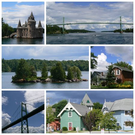 Miles islands in Canada collage Stock Photo