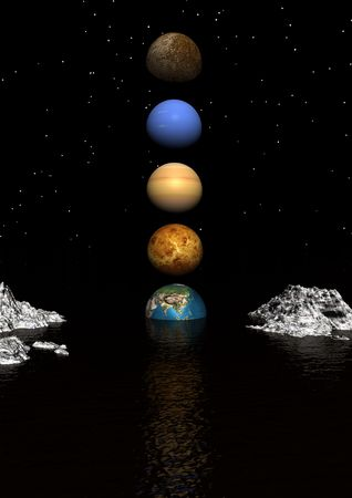 planets water and mountains white Stock Photo - 7978026
