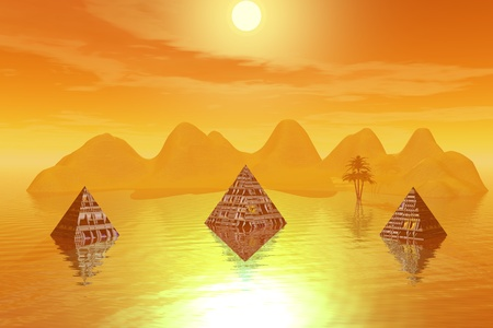 pyramids and mountain and tree yellow photo
