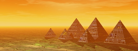 pyramids and landscape yellow
