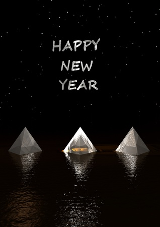 paperweight: happy new year 2011 pyramids white