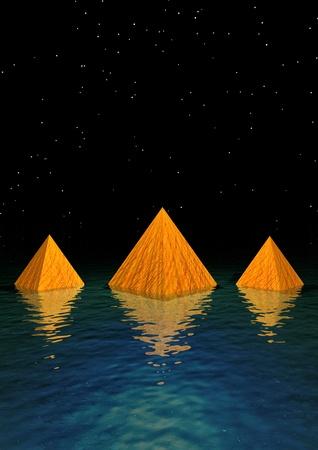 pyramids orange and water Stock Photo