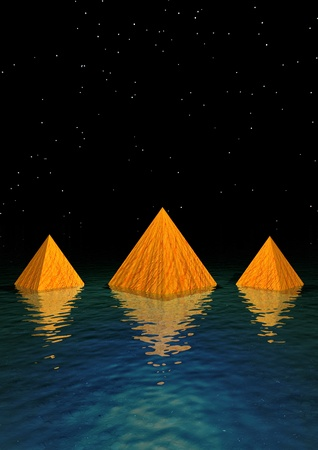 paperweight: pyramids orange and water Stock Photo