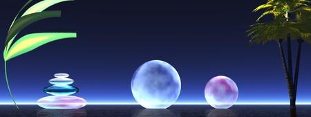 purpule: landscape zen and balls and stone Stock Photo