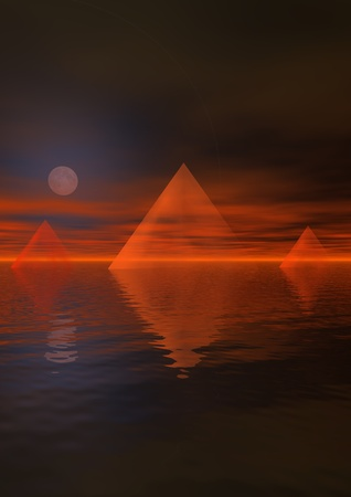 pyramid of the sun: landscape and moon and pyramids Stock Photo