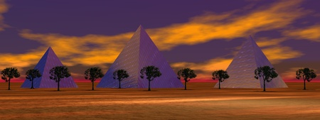 pyramids purpule and trees