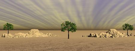 purpule: sky purpule and mountains and trees Stock Photo