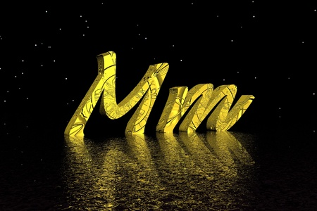 c r t: letter m yellow Stock Photo