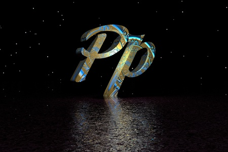 letter p yellow and blue photo