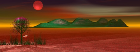 mountain and planet red Stock Photo - 9781008