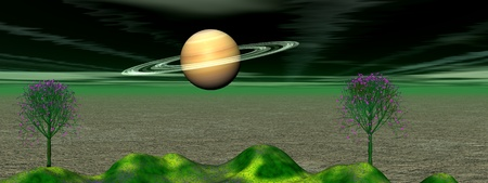 planet saturn and mountain green Stock Photo - 9781016