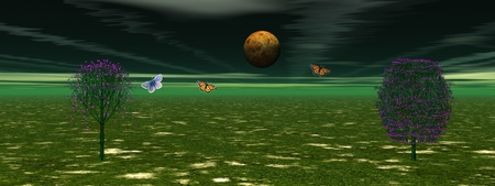 planet trees and sky Stock Photo - 9781065