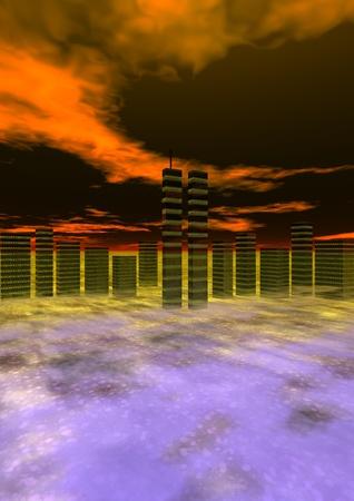 world trade center and sky orange, new-york photo