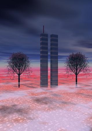 trees and world trade center, new-york photo