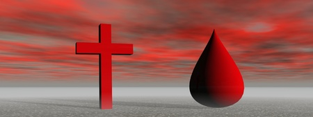 cross red and blood Stock Photo
