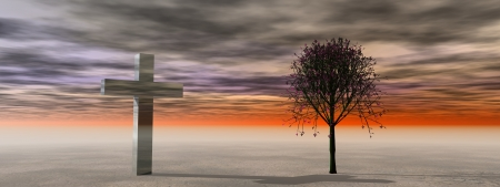 calvary: cross and tree and sky