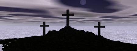 hombre orando: Cruz y monta�a negra