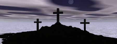 mountain black and cross