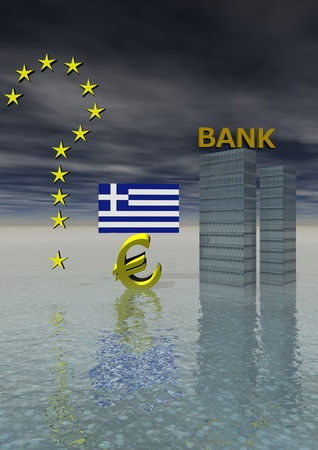 monetary devaluation: euro and flag greek and bank