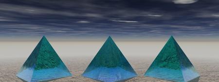 pyramid peak: pyramids blue and sky Stock Photo
