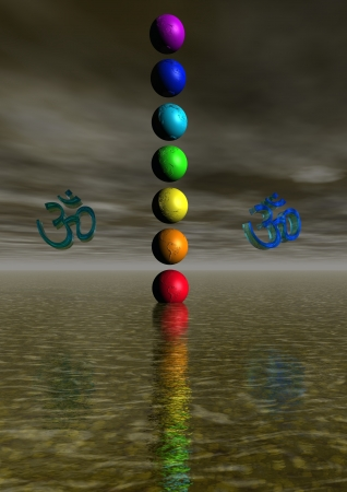 heart chakra red: Colored aum  om in chakra