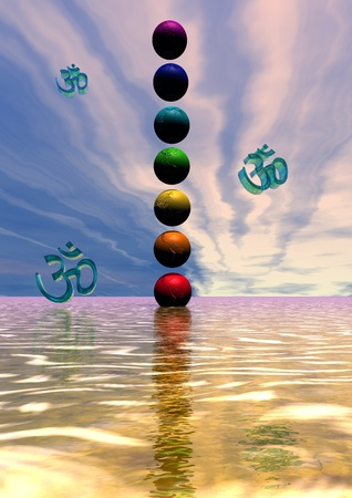 tantra: chakra and aum Stock Photo