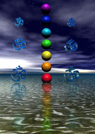 spiritual meditation creation: chakra and aum blue