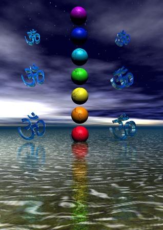 aura: Chakra und aum blau Lizenzfreie Bilder