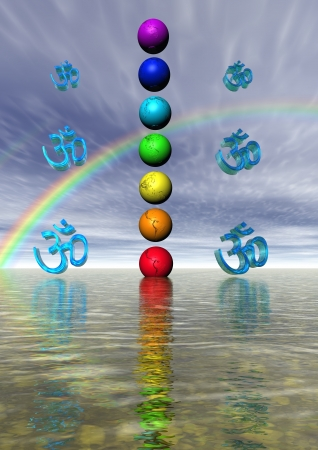 'peace of mind': chakra and aum and rainbow