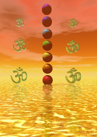 heart chakra red: chakra and sun yellow