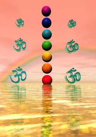 heart chakra red: chakra and aum and rainbow