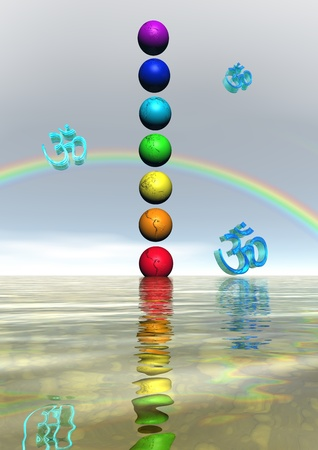chakra and aum blue and rainbow photo