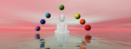 buddha white and chakra Stock Photo - 11267487