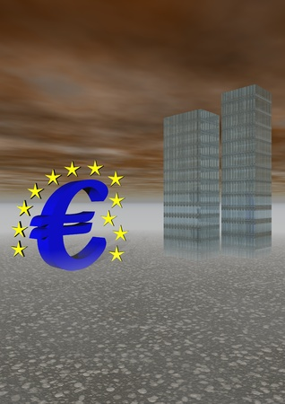 euro blue and buildings photo