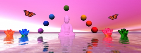 chakra symbols: buddha and chakra and lily water Stock Photo