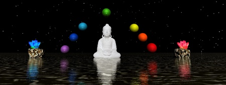 buddha and water lily photo