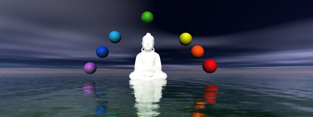 buddha white and chakra