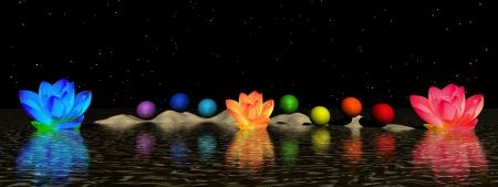 energia espiritual: chakra y lirio de agua