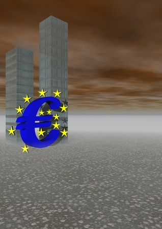 monetary devaluation: euro and crise and buildings