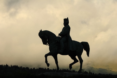 napoleon bonaparte: Napoleon and horse and sky Stock Photo