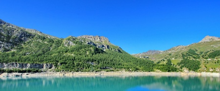 lake and mountain Tignes, France photo