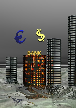euro and buildings Stock Photo