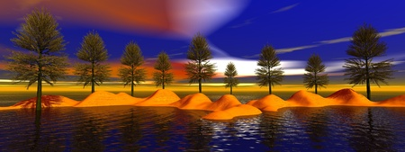 landscape fir trees and sky Stock Photo - 11971638