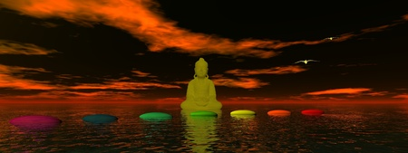 steps chakra and buddha photo