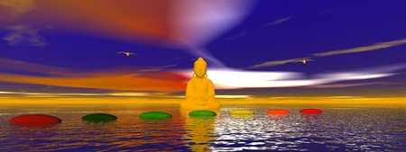 steps chakra and buddha Stock Photo - 12394171