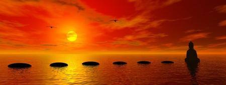 Schritte und Buddha und Sonne