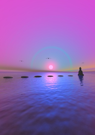steps and buddha grey and sun pink