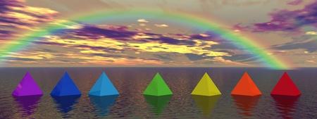 rainbow and pyramids chakra