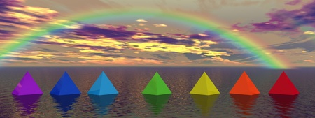 anahata: rainbow and pyramids chakra
